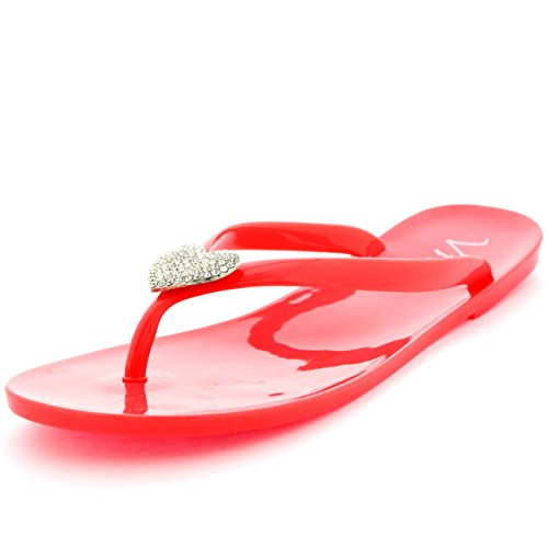 Damen Sommer Urlaub Diamante Gelee Schuhe Strand Flip-Flops Sandalen Koralle
