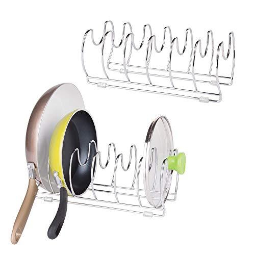 mDesign Set da 2 funzionale porta pentole - Ideale portacoperchi e stoviglie - Versatile porta stoviglie cucina - Metallo cromato