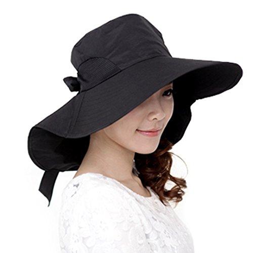 La Haute stylische klappbar groß Krempe Beach Hat Sonnenschutz UV-Schutz schnelltrocknend Hat für Outdoor-Aktivitäten schwarz schwarz (Passform Eine Ausgestattet Cap Hut)
