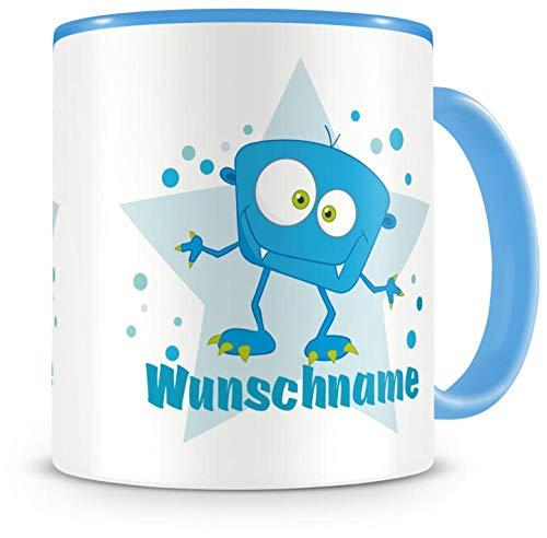 Samunshi Kinder-Tasse mit Namen und einem blauen Monster als Motiv Bild Kaffeetasse Teetasse Becher...