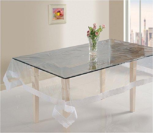 CLASSIC EMPORIUM CASA-NEST PVC Thick Transparent White Border 6-8 Seater Dining Table Cover (60x90-inch)