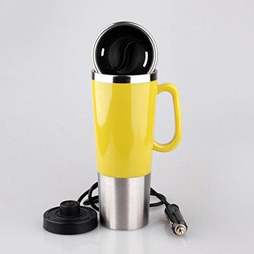 HJXJXJX Calentador eléctrico de automóvil Calentado taza de acero inoxidable Taza de café de coche con cargador , yellow , 12v