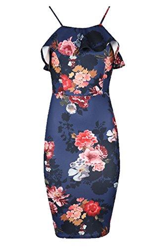 Oops Outlet Damen Blumenmuster Cami Dünne Träger Peplem Rüschen Damen Figurbetontes Top Party Midi Kleid Übergröße UK 8-18 Blumenmuster Korallenrot Marineblau