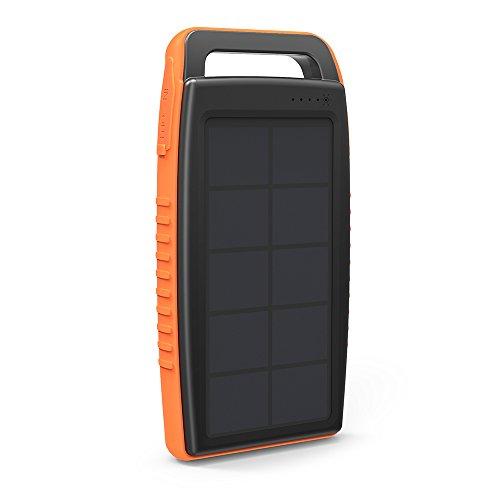 Ravpower caricatore solare portatile 15000mah, caricabatterie 15000 con doppio metodo di ricarica (ricarica tramite pannello solare o porta da dc5v/2a) 2 porte usb ismart e 1 luminosa luce led