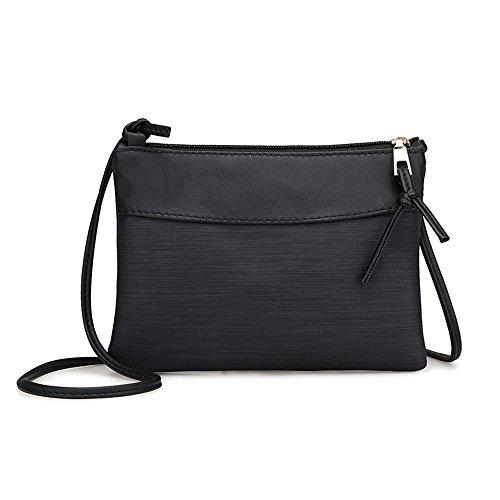 DAY.LIN Frau Weinlese Umhängetasche Frauen Retro Tasche Schultertasche Messenger Bags Tote Handtasche (Schwarz)
