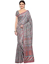 Applecreation Women'S Pashmina Silk Saree With Blouse Piece (Grey_Free Size )
