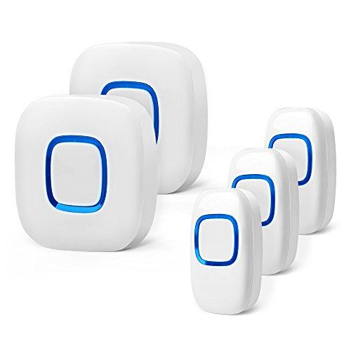 Campanello senza fili, bitiwend campanello wireless impermeabile con raggio d'azione di 300m 52 suoni differenti 4 livelli di volume indicatore led, 3 trasmettitore e 2 ricevitore (bianco)
