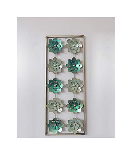 New All American Collection Modern Chic Aluminium/Metall Wand Dekor mit Rahmen 30,5 x 76,2 cm, Aluminium, Aqua and Turquoise Flowers, 12