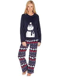 mujer oso Búho Pingüino Manga Larga Pijamas De Forro Polar Cálido de invierno ...