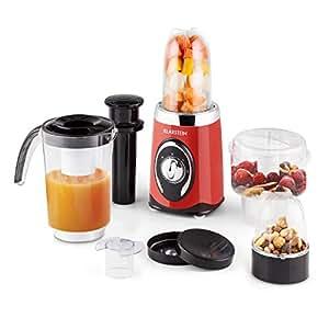 Klarstein Fruizooka mixeur blender multifonction 4 en 1 (pour smoothies, soupes, jus de fruits, émincer, râper, 3 récipients, 220W) - rouge