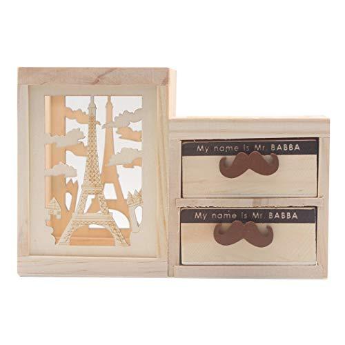 Sipliv portamatite creativo in legno portapenne portapenne supporto multiuso da scrivania organizer con piccolo cassetto in grado di ospitare piccoli oggetti - torre