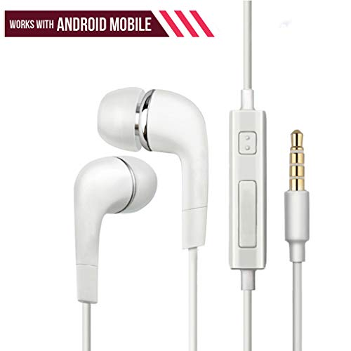 Nabster Nokia Lumia 730 Dual SIM Compatible Wired Headphones with Microphone in Ear Bass Earphones Built-in Mic Stereo Music Headsets for Mobile - White
