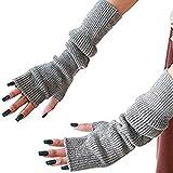 Filo muffole moda inverno riscaldatori lunghe maglia foro pollici braccio guanti senza dita cannabis signora Girl (Grey)