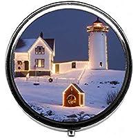 LinJxLee Christmas House Round Pill Case Pill Box Tablet Vitamin Organizer Easy to Carry preisvergleich bei billige-tabletten.eu