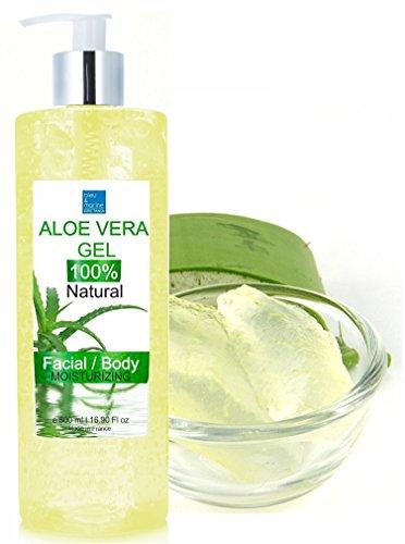 100% Rein natürlich Konzentrat: Aloe Vera Gel für Gesicht, Haare & Körper 500 ml - Sonnenbrand, Hautausschlag, Käfer- oder Insektenstiche, trockene und beschädigte alternde Haut, Rasurbrand und Akne - 100% Reine Algen