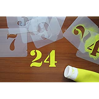 Number Stencils Numerals Stencil Set 40,50,75,100,125,150 mm different fonts (75mm) by Artstencils