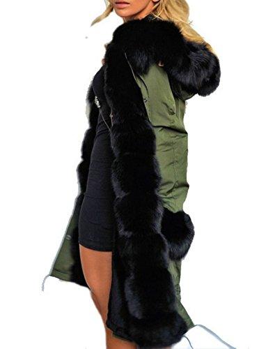 Fanessy Damen Kapuzenpullover schwarz schwarz Asiatisch S/32 Grün
