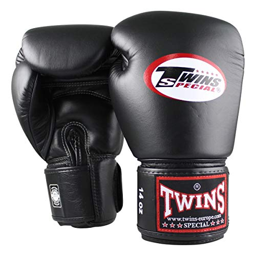 Twins Special Boxhandschuhe BG-N Black - Boxhandschuhe MMA Kickboxen Sparring Muay Thai Leder (10oz)