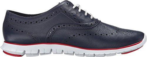 Cole Haan Zerogrand Wing-tip Oxford Blazer Blue/Tango Red Leather