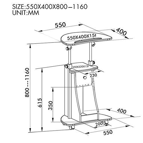 Afayu Afanyu Laptop Desk Cart Stehender Computertisch Beweglicher verstellbarer schwimmender Schreibtisch mit Aufbewahrungsnotizbuch-Nachttisch,C -