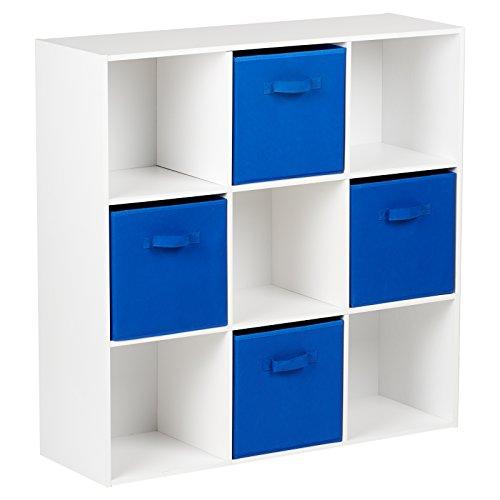 Hartleys Würfelregal in Weiß mit 9Fächern u. 4Schubkästen in Blau