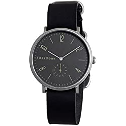 TokyoBay t338-bk Herren Edelstahl schwarz Leder Band Grau Zifferblatt Smart Watch