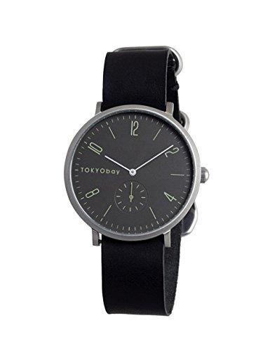 tokyobay-t338-bk-hombres-del-acero-inoxidable-negro-banda-de-cuero-esfera-gris-reloj-inteligente