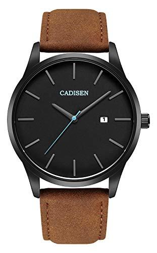 CADISEN Herren Uhr Wasserdicht Kalender Analog Quarz Armbanduhr mit Lederarmband Braun (Weiches Leder-auge Glas Fall)
