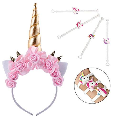 (Einhorn Haarreif Stirnband mit Blume Einhorn Armbänder Horn Kopfbedeckungen Haarband Kopfschmuck Haare Hoop Blumenkranz Haarbänder Haarschmuck für Mädchen Kinder Geburtstag Party Kostüm (horn4))