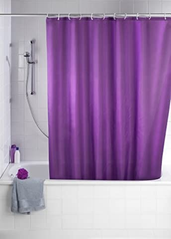 WENKO 20035100 Anti-Schimmel Duschvorhang Uni Purple - Anti-Bakteriell, waschbar, mit 12 Duschvorhangringen, 100 % Polyester,