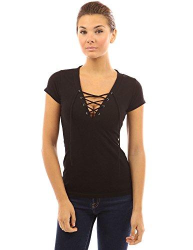 PattyBoutik Damen V-Ausschnitt stretch Bluse mit kurzen Ärmeln und Schnüren Schwarz