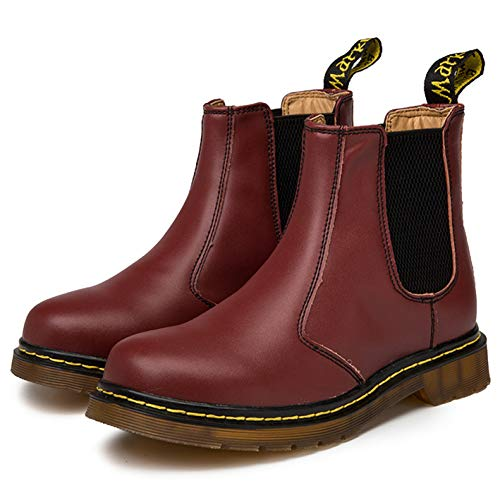 Zkyo Chelsea Boots Damen Herren Kurzschaft Winter Stiefel Warm Gefüttert Ankle Stiefeletten Rutschfeste Worker Boots Größe Rot 42