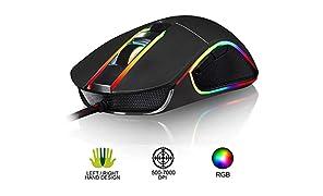KLIM AIM Chroma RGB Gaming Mouse - 2019 Version - PRÄZISE - Kabel-USB - 500-7000 DPI einstellbar - Programmierbare Tasten - Bequem für alle Handgrößen - Beidhändiger Griff Gamer Gaming PC PS4 Schwarz