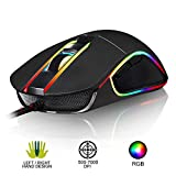 KLIM AIM Chroma RGB Gaming Mouse 2019 Version - Kabel-USB - 500-7000 DPI einstellbar - Programmierbare Tasten - Bequem für alle Handgrößen - Beidhändiger Griff Gamer Gaming - PC PS4 Xbox One - Schwarz