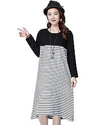 TT Algodón y lino yardas grandes suelta cuello redondo de manga larga de costura vestido rayado , picture color , 2xl