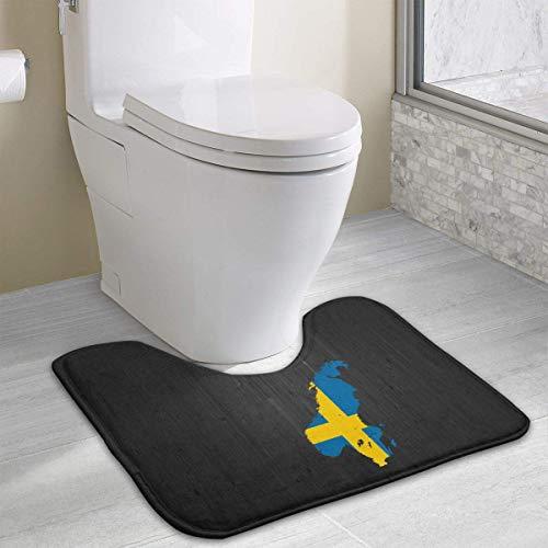 Hoklcvd Flag Map of Sweden U-Shaped Toilet Floor Rug Non-Slip Toilet Carpets Shower Mat -