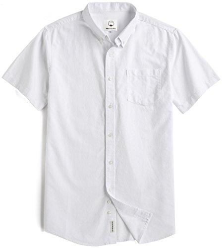 Summer mae uomo camicia classica in cotone oxford a manica corta