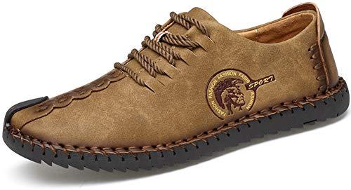 Phefee Herren Leder schnüren Oxford Schuhe beiläufig Müßiggänger Sneakers(Khaki 46)