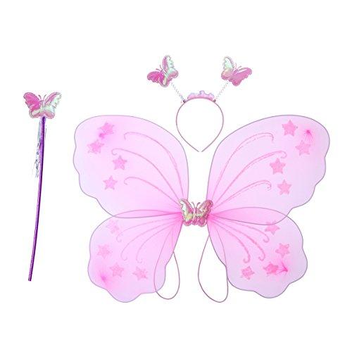 chen Fee Kostüme Prinzessin Fee Kostüm Schmetterling Kostüme Outfit Set mit Flügel Zauberstab und Stirnband für Mädchen Verkleiden (Rosa) (Seine Und Ihre Fancy Dress Outfits)