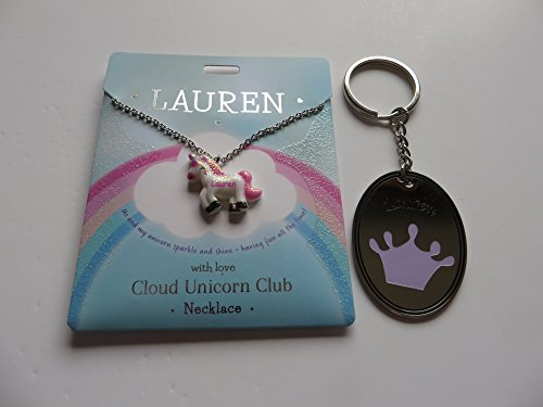 PERSONALISED CLOUD UNICORN NECKLACE FOR LAUREN WITH FREE KEYRING
