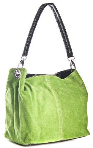 BHBS kleine Damen Schultertasche Hobo Slouch mit einem Riemen-echtes italienisches Leder mit mit Kunstleder Trimen 20 x 23 x 16 cm (B x H x T) (02 Electric Green) (Wildleder Designer-tasche Grüne)