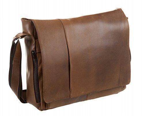 Komfortable und robuste Echtleder Umhängetasche Laptoptasche
