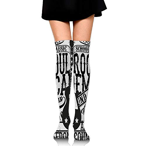 038816bee Casepillows Soul Rock Academy Theme Music School Electric Guitar Women's  Fashion Over The Knee High Socks