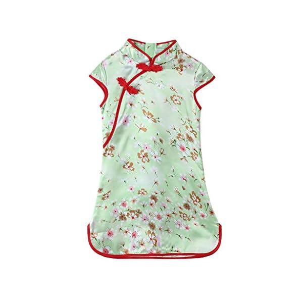 Aini Vestido De Bebé NiñAs Vestido De NiñA Cheongsam Vestido Estampado Estilo Chino para NiñA Vestido Manga Corta Floral… 1