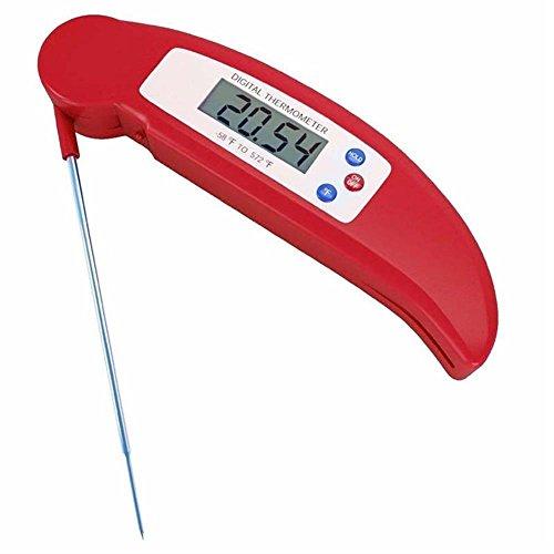 Termometro Digitale Cucina Multifunzionale Lettura Immediata con Sonda Lunga Pieghevole, Schermo LCD Auto On/Off, Perfetto per Cibo, Carne, Latte, Caffè, Acqua da Bagno, Barbecue, Grill. (Rosso)