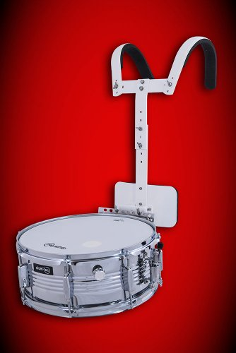 "14"" Chrome Marching Snare ++ kleine Parade Trommel ++ mit Tragegestell ++ REMO Ambassador Fell! (Modell: Snare/14)"