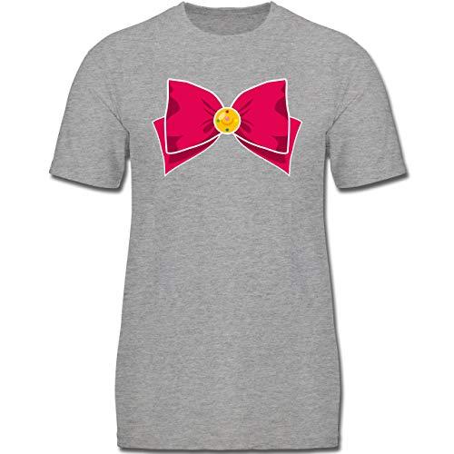 Karneval & Fasching Kinder - Superheld Manga Moon Kostüm - 164 (14-15 Jahre) - Grau meliert - F130K - Jungen Kinder T-Shirt (Lustiger Film Paare Kostüm Ideen)