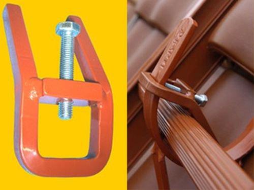 Haltefinger aus Stahl für Dachleiter (2 Stück) (rot)