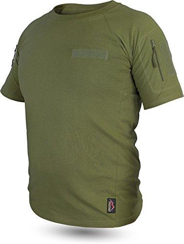 Taktisches Tropen T-Shirt mit Armtaschen, Unterarmtaschen und 3 Klettpatchflächen Farbe Oliv Größe XL (Shorts 7 Tactical)