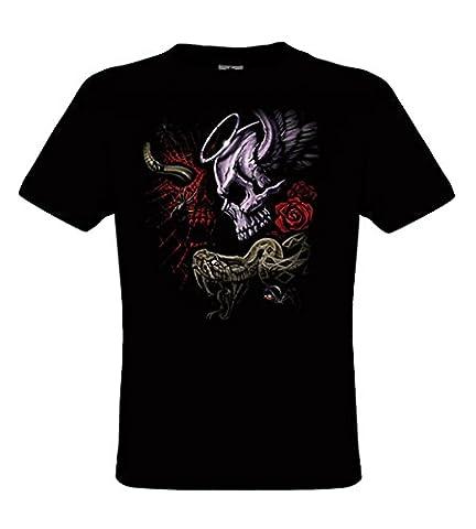 DarkArt-Designs Gothique T-Shirt Fantacycle - Serpent avec un motif de tête de mort T-shirt pour enfants et adultes - motif de plaisir regular fit, Noir,